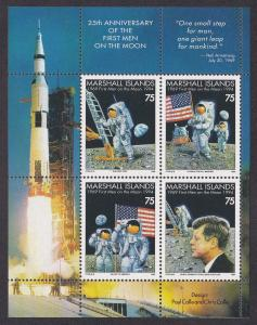 Marshall Islands # 586b, Moon Landing 25th Anniv., Souvenir Sheet, NH 1/2 Cat.