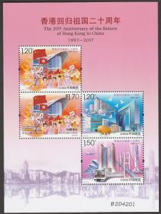 Hong Kong China Joint Issue 20th Anniversary Return souvenir sheet MNH 2017