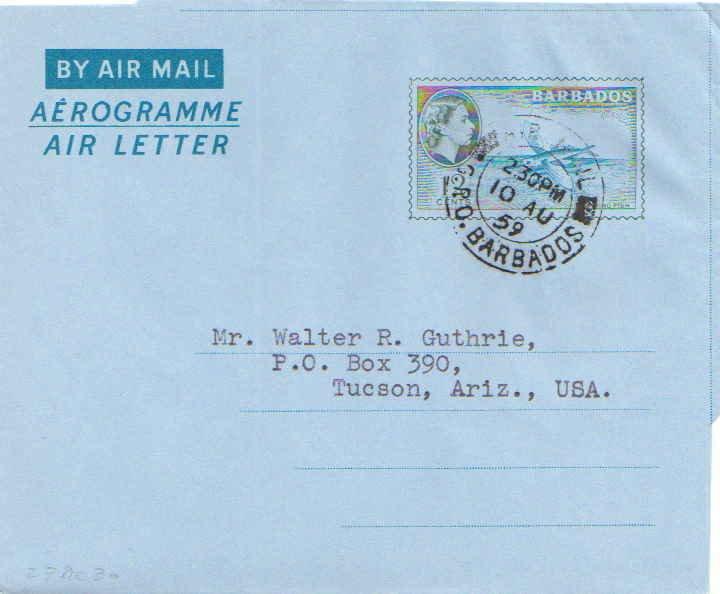 Barbados Higgins & Gage FG2 Typewritten Address.
