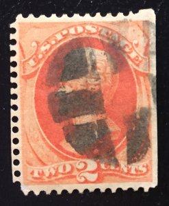 US #183 Used Andrew Jackson 2c - Straight Edge