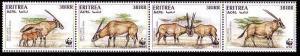 Eritrea WWF Beisa Oryx Strip of 4v SG#319-322 MI#87-90 SC#261 a-d CV£8