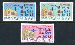 Philippines 1107-1109, MNH 1st National City Bank in the Philippines, 70th Ann.