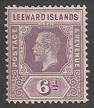Leeward Is. #53 die I mint, King George V, issued 1912