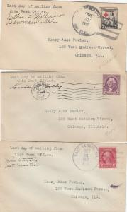 12 Covers Illinois Last Day DPOs 1931 - 1933 Some Signed by Postmaster