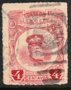 MEXICO 612, 4cents ROULETTED, USED. F-VF. (333)