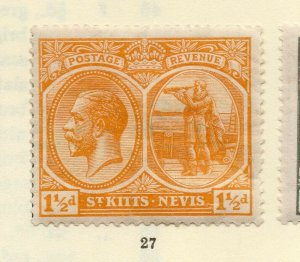 St Kitts Nevis 1920s Early Issue Fine Mint Hinged 1.5d. NW-170448
