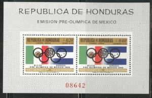 Honduras  Scott C429-430 MNH** 1968 Olympic stamp sheet