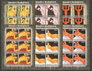 KV325 2002 CHAD NEW ART PAINTINGS AMADEO MODIGLIANI !!! 6SET MNH