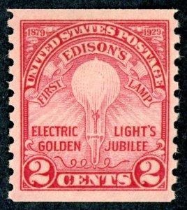 #656 – 1929 2c Edison's First Lamp, coil perf 10.  MLH OG