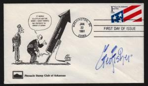 1991 Flag F-rate Sc 2522 signed George Fisher cartoon cachet