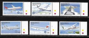 Maldives 1994 ICAO Airplanes Sc 2030-2035 MNH A977