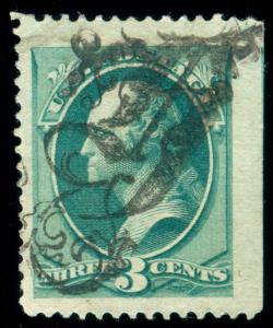MOMEN: US STAMPS #184 USED FANCY ORNATE GOTHIC A PSE CERT