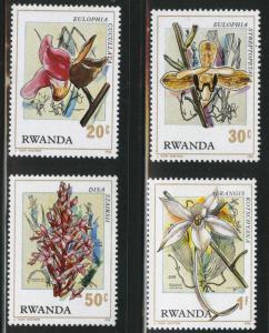 RWANDA Scott 779-782 MH* orchid short set