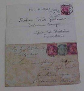 NATAL 1894 B/S SWITZERLAND, 1903 B/S SWEDEN