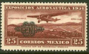 MEXICO C45, 20c on 25c Early Air Mail surcharged new value.UNUSED H OG. VF.