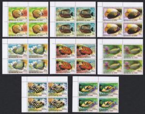 Zaire Tropical Fish 8v Top Left Corner Blocks of 4 SG#1017-1024 SC#974-981