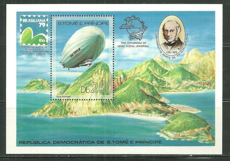 St. Thomas & Prince Island MNH S/S 519 Sir Roland Hill & Graf Zeppelin SCV 22.50