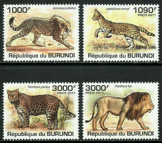 Burundi MNH 842-5 Wild Cats Lions 2011 SCV 13.50