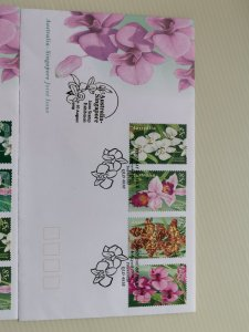 SINGAPORE 1998 THREE FDCs - ON FOUR NATIVE ORCHID SPECIES