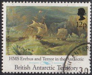 British Antarctic Territory 1991 used Sc #184 12p HMS Erebus, Terror