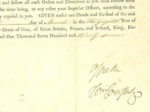 MS2894 1797 EAST INDIA Co MILITARY COMMISSION DOCUMENT Signed *Speke*Cowper*etc