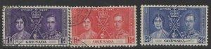 GRENADA SG149/51 1937 CORONATION FINE USED