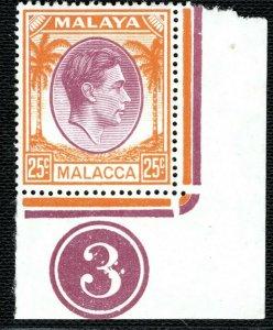 Malaya MALACCA KGVI Stamp 25c Plate Number 3 Mint UM MNH Corner Marginal LBLUE77