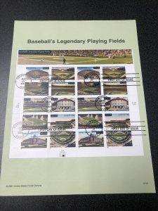 US 3510-19 Baseball's Legendary Fields Souvenir Page FDC 2001