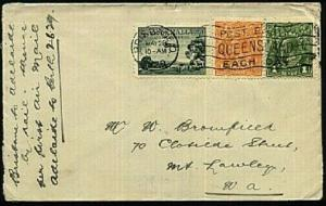 AUSTRALIA 1929 cover Brisbane to Adelaide by rail - then first flight to Perth.