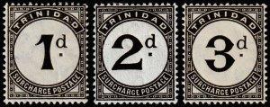 Trinidad & Tobago Scott J1-J3 (1923-25) Mint H VF, CV $26.00 M