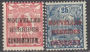 New Hebrides (Fr) #7-8  Unused CV $10.00 (A16966)