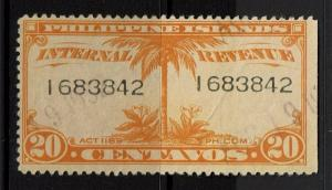 Philippines 20 Centavos Used Revenue, Visible Diagonal Crease - S316