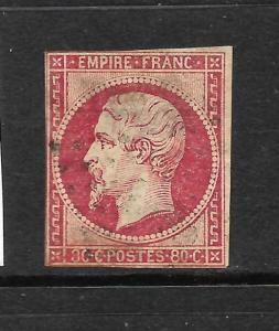 FRANCE 1853-61  80c   NAPOLEON  IMPERF    FU    SG 70