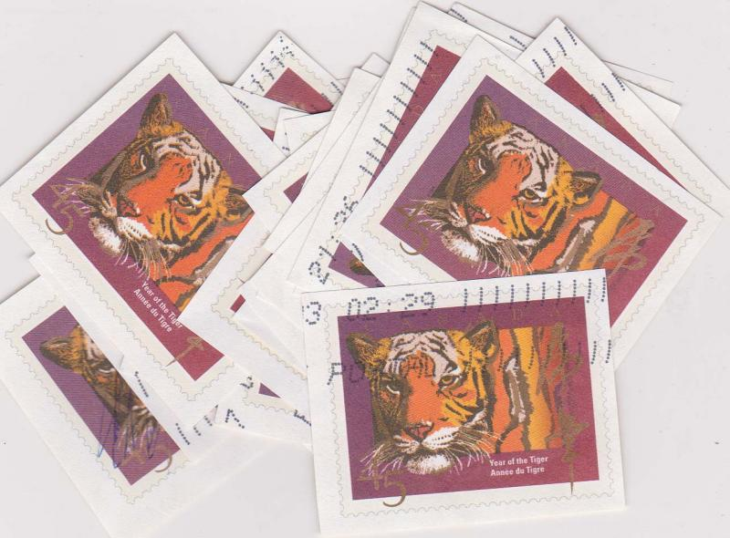 Canada USC #UO72 1998 Year of the Tiger Cut Squares X 25 USED