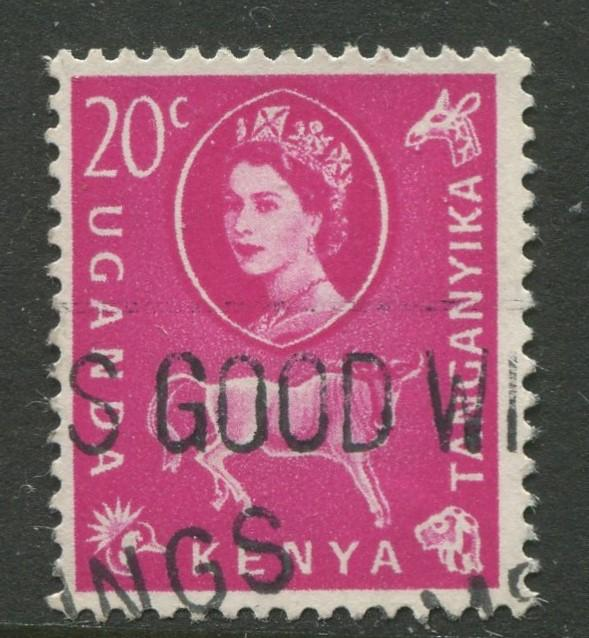 Kenya & Uganda - Scott 123 - QEII Definitive -1960 - Used - Single 20c Stamp