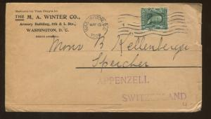 1906 Washington DC to Switzerland The M A Winter Company Advertising Cover