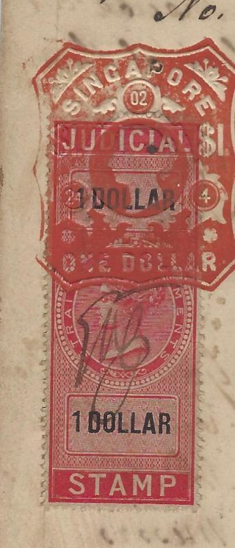 MALAYA STRAITS SETTLEMENTS (P1109B) QV JUDICIAL RED REVENUE,$1.00 ON 1891 PART D