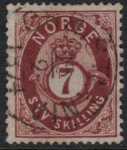 Norway #21  CV $100.00  Feb. 25, 1874 cancellation Christiania, Norway