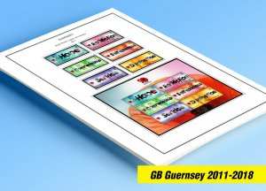 COLOR PRINTED GB GUERNSEY 2011-2018 STAMP ALBUM PAGES (51 illustrated pages)