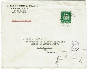 Surinam 1941 Paramaribo cancel on printed matter cover to the U.S., censored