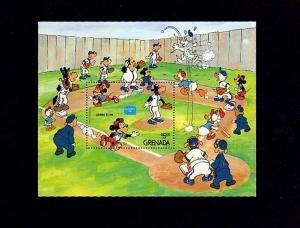 GRENADA - 1986 - DISNEY - BASEBALL - DONALD - MICKEY - GRAND SLAM - MNH S/SHEET!
