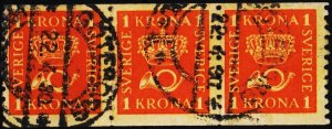 Sweden. 1920 1k(Coil striip of 3) S.G.113A Fine Used