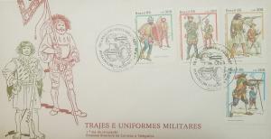 L) 1985 BRAZIL, MILITARY COSTUMES AND UNIFORMS, PEOPLE, PISTOLS, SHIELD, HELMET