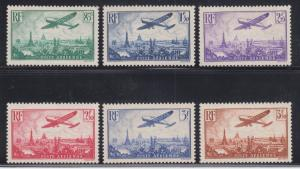 France Sc C8-C13 MLH. 1936 Airplane over Paris, short set missing top value