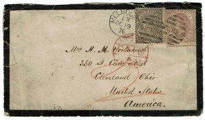 Victoria 1876 Melbourne cancel on mourning cover to the U.S.