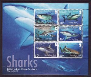 BIOT-Sc#453-unused NH sheet-Marine Life-Sharks-2016-