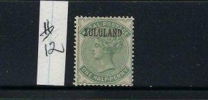 ZULULAND SCOTT #12  1888-94 GREAT BRITAIN 1/2D OVERPRINT  - MINT LIGHT HINGED