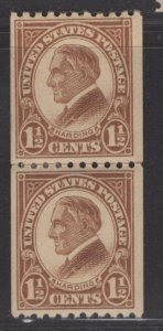 US Stamp #605 Coil Pair 1.5c Harding MINT Hinged SCV $3.50. Joint Line Pair