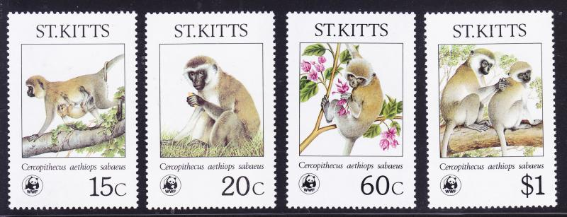 St. Kitts No.185-188 complete (4) WWF  Monkeys