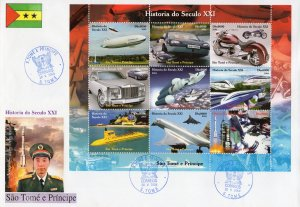 Sao Tome and Principe 2004 Motorcycle/Concorde-SPACE Sheetlet perforated FDC